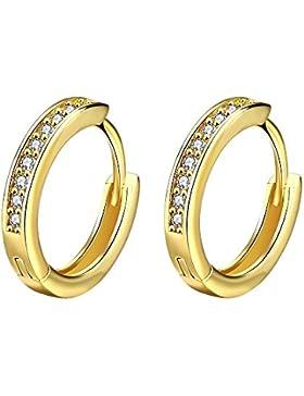 Styleziel Damen Klapp Creole mit funkelnden Kristallen Ohrring Gold 15 mm 1730