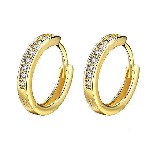 Styleziel Damen Klapp Creole mit funkelnden Kristallen Ohrring Gold 15 mm 1730 (Kleine Goldene Creolen)