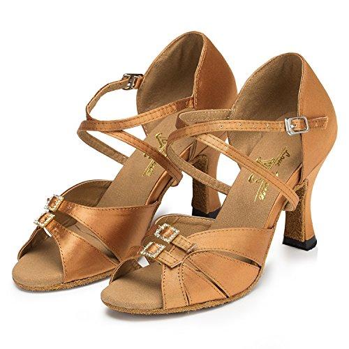 Minitoo–th153fibbia Tacco Alto Raso Matrimonio Ballo Latina taogo Dance Sandals Bronze