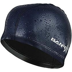 SheShy hombres flexibles impermeable a prueba de humedad adultos tamaño de la gorra de natación fibra de algodón sombrero de natación (Navy Blue)