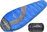 MOUNTREX Schlafsack für Camping, Wandern und Festival; koppelbarer Outdoor Mumienschlafsack; 220x80 cm