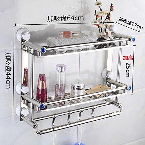 PEIWENIN Badezimmer Edelstahl Regal Toilette Toilette Waschbecken Regal Regal Regal Wand Edelstahl, Doppel, 60cm, Bohrer frei