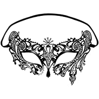 Foxnovo 1 Venetian Style Diamante Metal Filigree Masquerade Mask, Black
