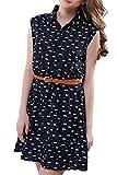 Minetom Damen Frauen V-Ausschnitt Katzen-Muster Ärmellos Mini kleid Cocktailkleid Partykleid Abendkleid Mit Gürtel DE 44
