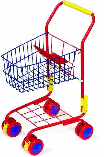 Preisvergleich Produktbild Einkaufswagen aus Metall für ein tolles Einkaufsgefühl, stabiler Metallrahmen inklusive integriertem Puppensitz, mit 360 Grad drehbaren Rädern, Shoppingspaß für Kinder ab 3 Jahre