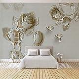 Amazhen 3D Wallpaper Moderne Kunst Gold Rose Blumen Foto Wandbild Wohnzimmer TV Sofa Hintergrund Tapeten Für Wände 3 D Fresko,200cm*140cm