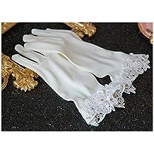 DELLT- Simple encaje flores corto guantes de novia guantes de vestido de boda accesorios