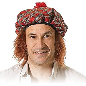 Tartan Hat & Ginger Hair Scotsman Fancy Dress (gorro/sombrero)