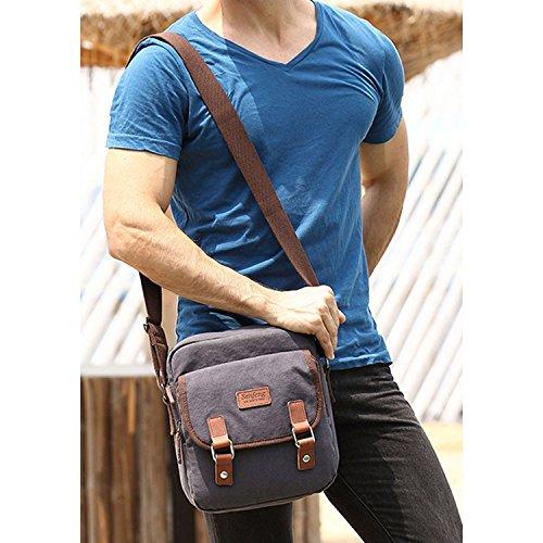 Outreo Kleine Umhängetasche Herren Kuriertasche Vintage Taschen Canvas Schultertasche Herrentaschen Messenger Bag für Tablet Schule Reisen Reisetaschen Sport Tasche Blau
