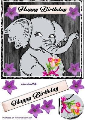 Éléphant Carte d'anniversaire avant par Donna Kelly