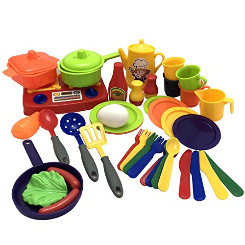 TikTakToo Miniküche mit Töpfen Pfanne Lebensmittel komplett 41 teilig mit Geschirr und Besteck...