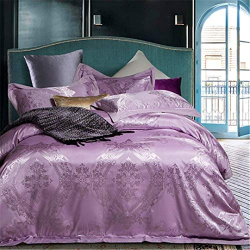 Satin Cotton Blue Silver Royal Bettwäsche Set König Queen Size Seidiges Bett Set Bettbezug Bettlaken Leinen Kissenbezug Color14 König 4tlg (Queen Blue Bettwäsche Royal)