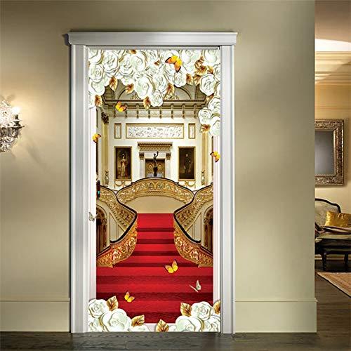 XUYATO Türaufkleber Europäischen Stil Tür Aufkleber 3D Treppen Roter Teppich Tapete Wohnzimmer Hotel Wohnkultur Luxus Design Tür Aufkleber Wandaufkleber, 77x200 cm -