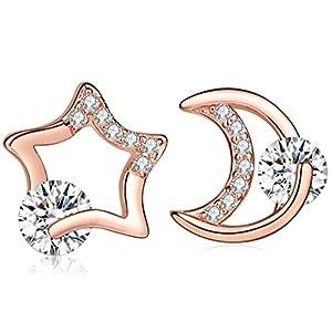 Yumilok Roségold 925 Sterling Silber Zirkonia Stern Mond Asymmetrische Ohrstecker Ohrringe Hypoallergen Ohrschmuck für Damen Mädchen