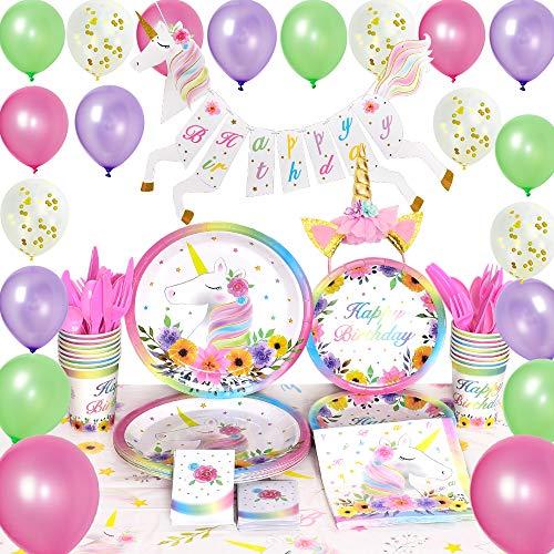 tyzubehör Set - Geburtstag Partydekoration für Mädchen Magisch Einhorn Alles Gute zum Geburtstag Banner Ballons Tischdecke Servietten Stirnband Bedient 16 Gäste 154 STÜCKE ()