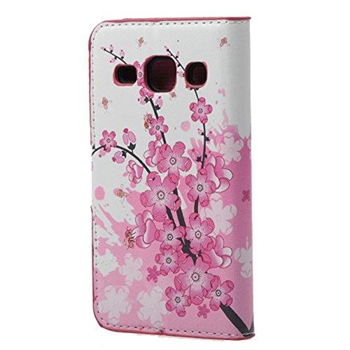 Housse Samsung Core Plus,Étui à Rabat Coque en PU Cuir Étui Pour Samsung Galaxy Core Plus (GT-G3500 / SM-G350 / G3502) Case Cover Portefeuille Housse de Protection Protecteur (#2 Treillage coloré) Fleur rose