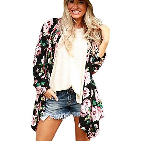 Fortan MOKINGTOP Rosa fiori di modo delle donne manicotto lungo casuale floreale Top Coat (Floreale Vestito Lungo Dal Manicotto Camicia)