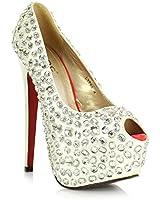 """JESSIE Ladies Women's High 6"""" Stilleto Heel Concealed Platform Pointed Peep Toe Diamante Court Shoes Pumps"""