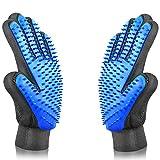 ALLRONDO® Fellpflegehandschuh Haustier Bürste Handschuh für Hunde und Katze Massagehandschuh - 2er Pack