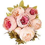 Bouquet di peonie artificiali Houda, in seta, decorazioni per la casa o per matrimoni. Champagne