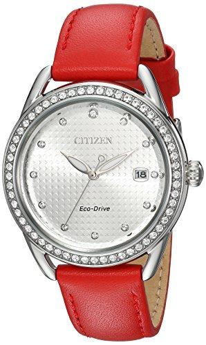 Citizen Femme Bracelet Cuir Rouge Eco-Drive Cadran Argent Montre FE6110-04A