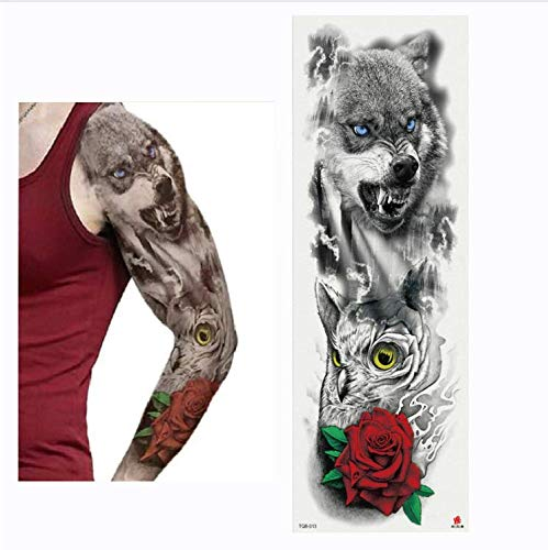 olle Blume arm Tattoo Aufkleber Skelette und Rosen temporäre körperfarbe Wasser Transfer Tattoo hülse ()
