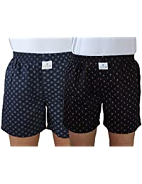(Pack Of 2)SKOR NX Men Premium Cotton Printed Black & Black Boxer Shorts With 1 Back Pocket, Concealed Button...