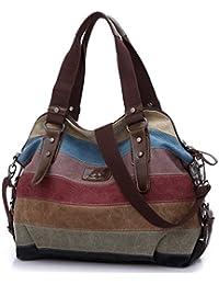 29adb2bb83 FreeMaster Women s Canvas Multi-Color Hobos Shoulder Bag Tote Handbag