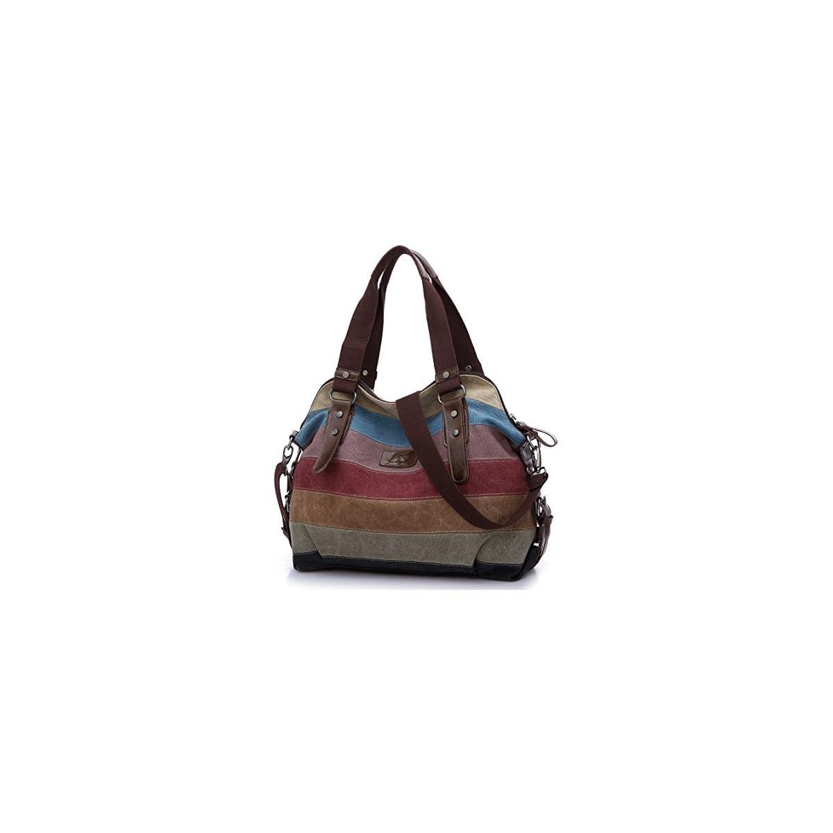51 enm5sAgL. SS1200  - HASAGEI Bolsa de Lona de las Mujeres Bolsos de Hombro Mochilas Casual Multicolor Rayas