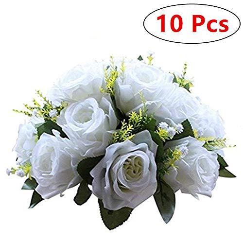 Nuptio 10 Stück Künstliche Blumenstrauß, 15 Köpfe Kunststoff Rosen mit Sockel, Geeignet für Unser Geschäft Hochzeit Herzstück Blumenregal für Parteien Valentinstag Dekoration(Reines Weiß)