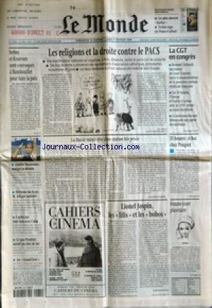 MONDE (LE) [No 16801] du 31/01/1999 - SERBES ET KOSOVARS SONT CONVOQUES A RAMBOUILLET POUR FAIRE LA PAIX - AMELIE MAURESMO, MALGRE LA DEFAITE - REFORME DU LYCEE - M. ALLEGRE BALLOTTE - CARLOS NIE TOUT LIEN AVEC CUBA - CE QUE POULENC AURAIT PU DIRE DE LUI - AU GRAND JURY - LES RELIGIONS ET LA DROITE CONTRE LE PACS - LA RUSSIE RUINEE REVE D'UNE STATION MIR PRIVEE PAR JEAN-PAUL DUFOUR - LIONEL JOSPIN, LES LILIS ET LES BOBOS PAR ERIK IZRAELEWICZ - LA CGT EN CONGRES - 35 HEURES