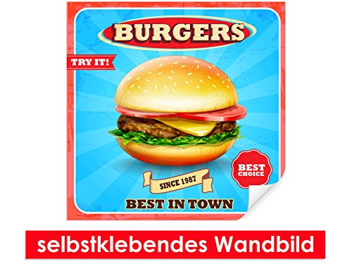 image-murale-auto-adhesif-best-burgers-in-town-facile-a-coller-wall-poster-print-wall-paper-film-vin