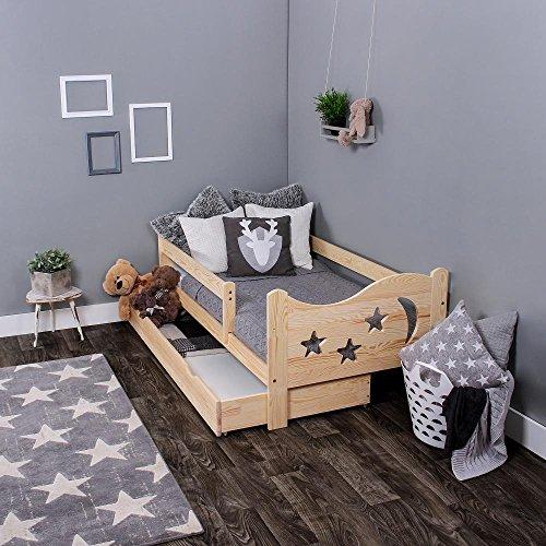 KAGU Chrisi Kinderbett Jugendbett Juniorbett Bett (140x70 cm oder 160x80 cm). Kiefernholz Massivholz inkl. Matratze und Schublade. (160 x 80 cm, Unbehandelt)