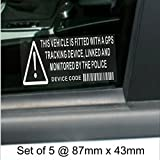 5 x GPS Vehicle Alarm Tracker Security Alarm Stickers Signs-For Car,Van,Truck,Taxi,Mini Cab,Bus,Coach