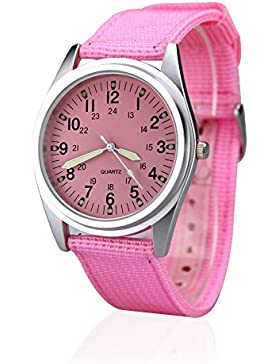 City Damen Silber Fall Pink Zifferblatt Quarz Nylon Stoff Band Fashion Armbanduhr