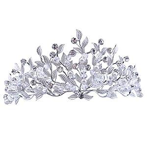 Santfe Diadem, Krone, Tiara mit Strass und Perlen für Hochzeit, Braut