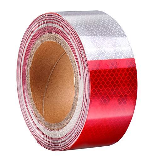 DEDC Rot Weiß Reflektierende Band Absperrband geblockt Selbstklebende Sicherheit Warnung Nacht Reflektor Streifen Aufkleber (50Fuß) -
