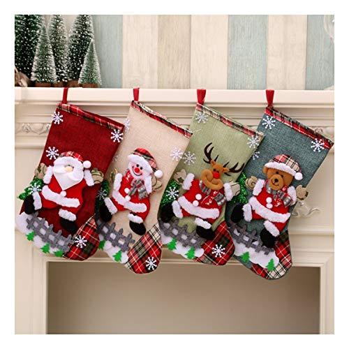ZXWDIAAB Leinen Große Weihnachtsstrümpfe Weihnachtsdekoration Taschen Geschenk-Taschen -