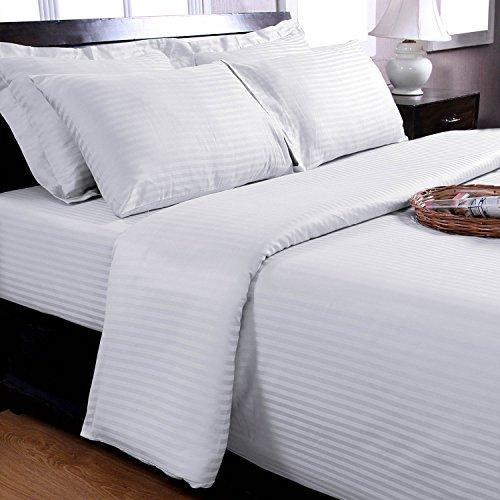 Homescapes 2 teilige Damast Bettwäsche 155×200 cm weiß 100% ägyptische Baumwolle Fadendichte 330