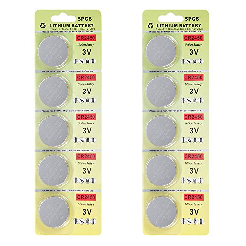 Fortune CR2450 3V Lithium Battery,Electronic Button Cell Batteries for Toys Calculators Watches Led Light Candles (10 pcs)
