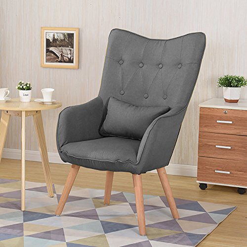 WarmieHomy Modern Occasional Chair Buttoned Linen Fabric Tub Chair Armchair for Bedroom Living Room Office Lounge Reception (Grey)