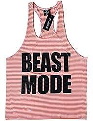 Modo bestia camiseta de tirantes espalda cruzada de–cómodo de llevar en gimnasio, yoga, entrenamiento y CrossFit, medium