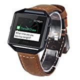 V-MORO Cinturino per Fitbit Blaze, pelle morbida, cinturino in vera pelle con polsino apribile e regolabile e scocca in metallo per Fitbit Blaze Smart Fitness Watch