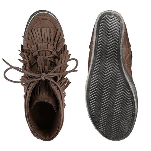 Damen Sneakers Keilabsatz Fransen Ethno Sportschuhe Lederoptik Khaki