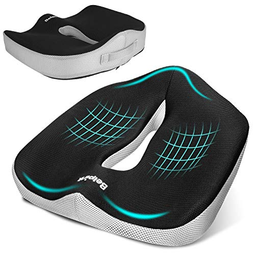 Belpink cuscino per sedile ortopedico memory foam - cuscino emorroidi per sedia a rotelle ufficio poltrona auto - ergonomico cuscini seduta per postura coccige sciatica sollievo dolore alla schiena