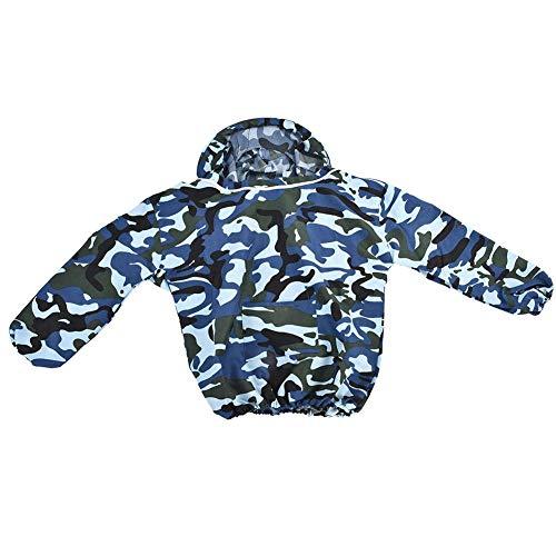 TOPINCN Professionel Baumwolle Bienenzucht Schützend Oberbekleidung Mantel Jacke mit Fechten Schleier Tarnen Schutzkleidung (Camouflage)