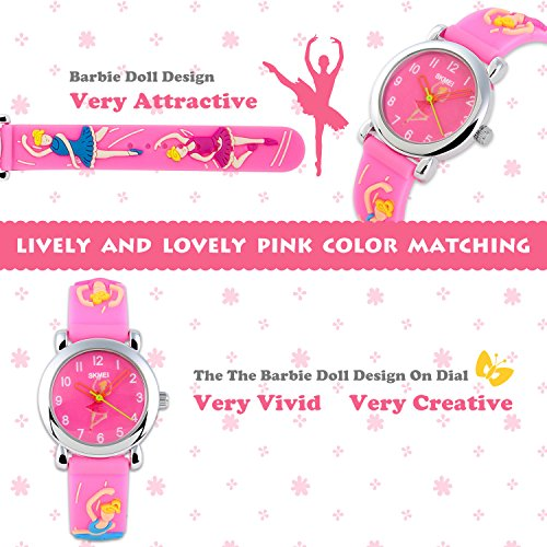 Childrens-Watches-Sport-Watch-With-Barbie-Doll-Dial-Mini-Watch-Slim-Case-Colorful-Hollow-Hands-Silicon-Strap-Boys-Girls-Watch