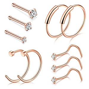 Zolure Nasenringe, 22G Nasenstecker Fake Nasenpiercing Lippe Hoop Schmuck 1.5mm 2mm 2.5mm