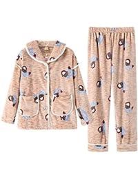 f77e0cd76 DUKUNKUN Pijamas para Mujer Cálido Cardigan Ropa Casual Dibujos Animados  Lindos Conjunto Casero