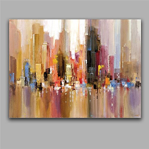 TTKX@ Modern Abstract Building Oil Paintings Impression House Oils Artwork Home Decor Wall Picture Art 100% Handmade Canvas Painting,60X80Cm (Art Picture House)